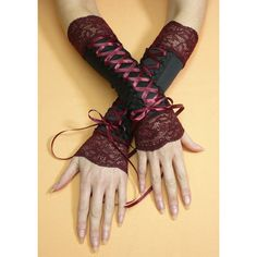 Black and Burgundy Corset Armwarmers, Gothic Costume Gloves with Red Wine Lace and Satin Gauntlets, Vampire, Baroque Style - Steampunk Mode Steampunk, Style Steampunk, Gothic Steampunk, Steampunk Fashion, Steampunk Gloves, Gothic Mode, Gothic Lolita, Mode Chic, Mode Style