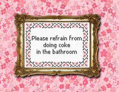No coke in the bathroom cross stitch PDF by XStitchesBeCrazy