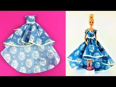 DIY Magnificent Barbie Toy Ball Gown - Barbie Fashion Clothes Tutorial for kids Girls Sewing Barbie Clothes, Barbie Sewing Patterns, Vintage Barbie Clothes, Doll Clothes Patterns, Diy Clothes, Fashion Clothes, Clothes Storage, Barbie Et Ken, Free Barbie
