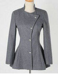 My favorite coat $16.91 Sweet Round Collar Dovetail Dark Gray Slimming Long Sleeves Coat For Women