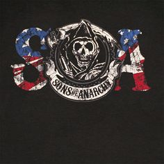 sons of anarchy logos | Home // Shirts // Sons Of Anarchy SOA American Flag Reaper Black ...