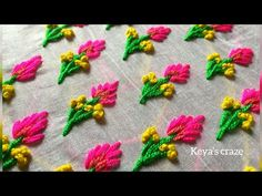 Hand Embroidery by keya French Knot Embroidery, Border Embroidery Designs, Bead Embroidery Patterns, Crewel Embroidery, Beaded Embroidery, Hand Embroidery Videos, Embroidery Stitches Tutorial, Embroidery Flowers Pattern, Sewing Stitches