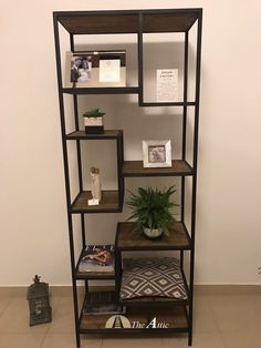 Staggered shelf made of recyled pine wood  #furniture #upcycle #metal #industrial #dubai  #rustic #original #home #decor #interior #design #style #abudhabi #uae #theatticdubai
