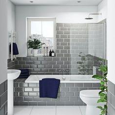 Shower Over Bath, Bathroom Tub Shower, Bathroom Renos, Bathroom Renovations, Shower Bath Combo, Tub Shower Combination, Bathtub Tile, Bathroom Makeovers, Small Bathroom With Tub