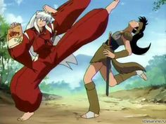 Inuyasha and Koga fighting over a bag of chips