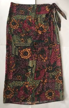 Vintage Wrap Skirt 12 10 8 6 4 Long Floral Tie Boho Red Yellow Green Purple | eBay