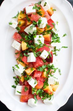 Simple Side: Cubed Watermelon, Peach, and Feta Salad Watermelon Basil Salad, Grilled Watermelon, Mint Salad, Feta Salad, Watermelon Recipes, Fruit Salad, Amy, Side Dish Recipes, Dinner Recipes