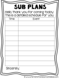 Tuesday Teacher Tips: Sub Plans with a #FREE Printable Sub Planner  #FernSmithsClassroomIdeas #FREEBIE