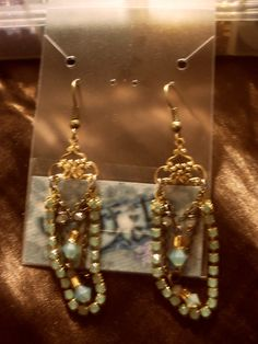 "Chandelier Earrings: ""Heart of Blue Gold"""