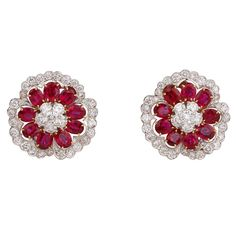 Van Cleef & Arpels Ruby Diamond Camellia Earrings | From a unique collection of vintage lever-back earrings at https://www.1stdibs.com/jewelry/earrings/lever-back-earrings/