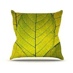 Kess InHouse Robin Dickinson Every Leaf a Flower Indoor/Outdoor Throw Pillow - RD1006AOP05