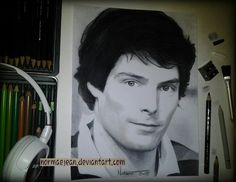 Normaearts portraitdrawing Christopher Reeve by NormaeJean.deviantart.com on @DeviantArt