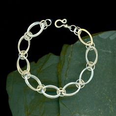 Chain Bracelet Silver Chainmaille Sterling Oval Link Silver Anniversary