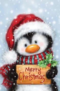 Penguin with Handwriting Canvas Print by MAKIKO | iCanvas Christmas Rock, Christmas Scenes, Christmas Animals, Winter Christmas, Christmas Time, Christmas Crafts, Christmas Decorations, Merry Christmas Pictures, Merry Christmas Images