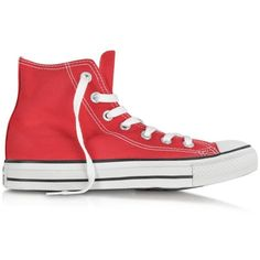 Converse Limited Edition Shoes All Star Red Canvas High Top Sneaker ($87) ❤ liked on Polyvore featuring shoes, sneakers and converse
