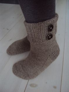 Button socks Handknitted and homemade light brown by HedgehogKnits, $33.00