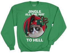 Amazon.com: Grumpy Cat Men's Jingle All The Way Long Sleeve T-shirt: Clothing