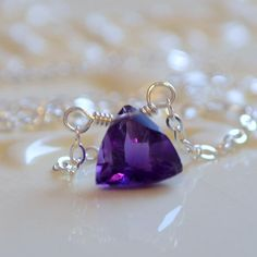 NEW Amethyst Necklace, Sterling Silver Choker, Simple Delicate Jewelry, February Birthstone, Genuine Dark Purple Gemstone, Free Shipping