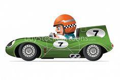 Vintage Race Car Cartoon Illustration ©Timothy Pronk #buystockcartoons