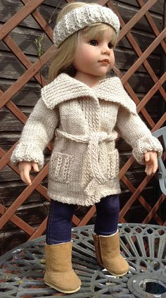 PDF pattern 30 April, a Big Collar Cardi that also doubles as a bathrobe suitable for most popular 18 and 19 inch dolls
