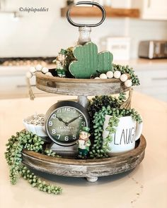 St Patrick's Day decor, Rae Dunn St Patrick's day, Tray Decor, Decoration Table, Table Centerpieces, Wall Decor, Diy St Patricks Day Decor, St Patrick's Day Decorations, St Patrick Decorations, Tray Styling, St Paddys Day