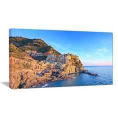 "DesignArt Manarola Village Cinque Terre Italy Photographic Print on Wrapped Canvas Size: 28"" H x 60"" W x 1"" D"