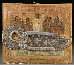 "Dormition of the Mother of God icon with partially beaded riza, Ukrainian or Russian, 19th century, 12"" x 14"""