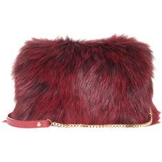ELIE SAAB Fox Fur Clutch (264885 RSD) ❤ liked on Polyvore featuring bags, handbags, clutches, cocktail purse, clasp purse, evening clutches, evening handbags and red clutches
