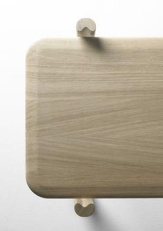 An upper view of Kea shelves in Solid oak and wrought iron. Design: Iratzoki Lizaso