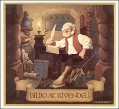 Bilbo at Rivendell - from the 1976 Brothers Hildebrandt Tolkien calendar