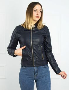 Γυναικείο μπλε σκούρο Jacket δερματίνη με χρυσό φερμουάρ WL1906B  #δερματίνη #μπουφαν #mpoyfan #online #eshop #torouxo Bomber Jacket, Leather Jacket, Jackets, Fashion, Studded Leather Jacket, Down Jackets, Moda, Leather Jackets, Fashion Styles