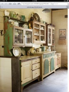 "mismatched china cabinets no ""built in"" cabinets....love it"