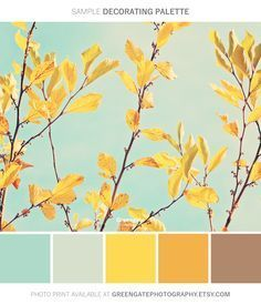 Fall Photo Print autumn leaves fall decor photography print nature botanical yellow aqua sky gifts for her gifts for fall art Color Schemes Colour Palettes, Colour Pallette, Color Palate, Yellow Color Schemes, Nature Color Palette, Yellow Paint Colors, Fall Color Schemes, Room Color Schemes, Color Trends