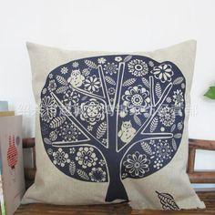 Envío gratis-- nórdico de papel- corte sofá de estilo impreso cojines del árbol de lino vintage almohada cubierta de almohadas decorar