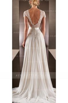 Beautiful Queen Anne Neck Lace Trimmed Long A-line Chiffon Wedding Dress