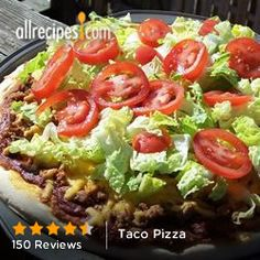 Pizza dough prepared in the bread machine is topped with refried beans, salsa, seasoned beef, and cheddar cheese. Taco Pizza Recipes, Mexican Food Recipes, Beef Recipes, Dinner Recipes, Cooking Recipes, Ethnic Recipes, Mexican Dishes, Dinner Ideas, Recipies