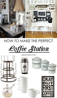 our tips and hints on creating the perfect coffee station with these few essential items and ideas via A Blissful Nest. Snag our tips and hints on creating the perfect coffee station with these few essential items and ideas via A Blissful Nest. Coffee Nook, Coffee Bar Home, Coffee Wine, Starbucks Coffee, Iced Coffee, Coffee Corner Kitchen, Sunday Coffee, Coffee Scrub, Coffee Creamer
