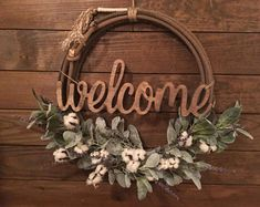 "Farmhouse Cotton ""Welcome"" Floral Rope Wreath , Western Rope Wreath, Wreath, Lariat Wreath, by ARopersWife on Etsy Cowboy Crafts, Western Crafts, Rustic Western Decor, Diy Wreath, Door Wreaths, Ribbon Wreaths, Yarn Wreaths, Tulle Wreath, Floral Wreaths"