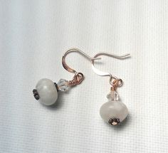 Jade Copper and Swarovski Crystal Earrings  by Justatishdesigns