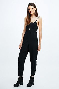 Sparkle & Fade Lace Insert Jumpsuit in Black - Urban Outfitters