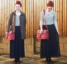 Oasap Striped Top, Love Pleated Skirt, Brand Village Satchel, H&M Coat, Dr. Martens Shoes