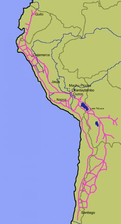 Major highways of the Inca Empire Map