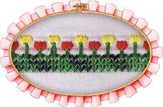 Jardín de tulipanes calados con cinta