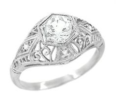 Edwardian Scroll Dome Filigree Diamond Engagement Ring in Platinum