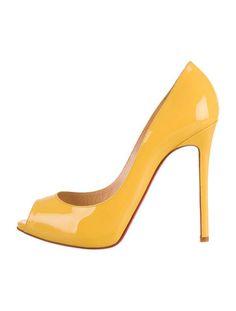 Yellow patent leather Christian Louboutin Flo peep-toe pumps with stiletto heels. Peep Toe Pumps, Stiletto Heels, Yellow Shoes, Patent Leather, Dust Bag, Christian Louboutin, Bags, Inspiration, Women