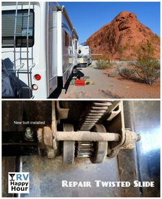 How to repair a twisted RV slide out room - http://rvhappyhour.com/forums/topic/how-to-fix-a-twisted-slide/ #RV #Repairs #Slide