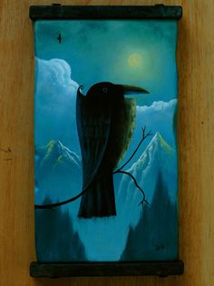 Crow in the Mountains  original crow raven bird by ArtistDavidKing