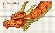 Needlework Patterns | Dragon head x-stitch pattern by ~Santian69 on deviantART