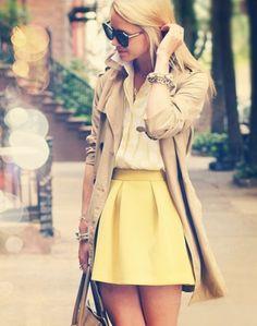 yellow skirt and trench coat
