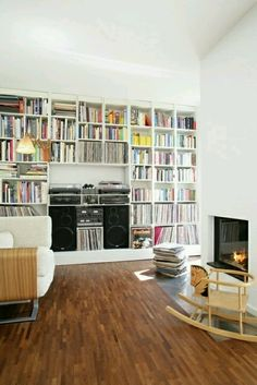 Example of how the built-ins in the living room, will need space for two large speakers (taking up space where the cabinets would go) and that some of the shelving is sized for records, CD, and also books. I picture the speakers wider apart however. Living Room Storage, Living Room Decor, Dining Room, Living Room Vinyl, Bedroom Decor, Vinyl Room, Vinyl Cd, Wall Vinyl, Vinyl Records